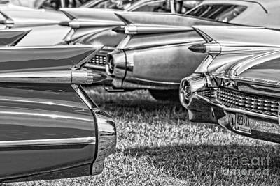 Vintage Cadillac Caddy Fin Party Black And White Print by Edward Fielding
