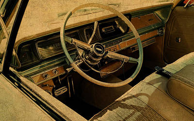 Vintage Cadillac Steering Wheel And Interior Print by Design Turnpike