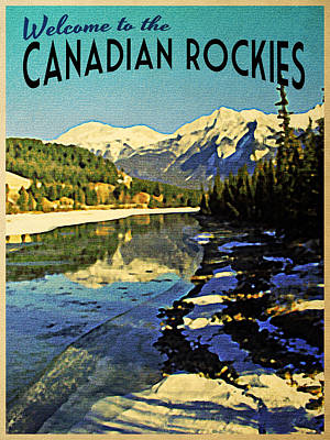 Snowy Digital Art - Vintage Canadian Rockies by Flo Karp