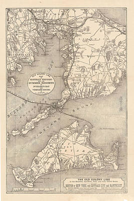Buzzard Drawing - Vintage Cape Cod Old Colony Line Map  by CartographyAssociates
