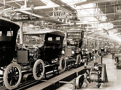 Model T Photograph - Vintage Car Assembly Line by American School