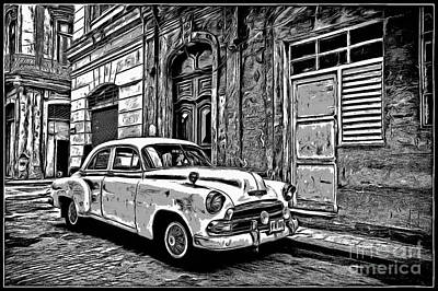 Vintage Car Graphic Novel Style Print by Edward Fielding