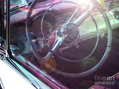 Vintage Car With Sun Reflections Print by Andreas Berheide