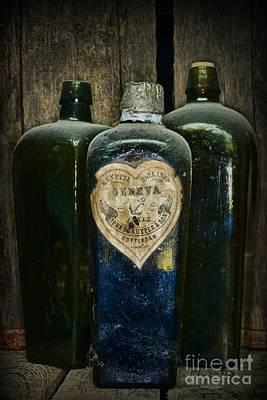 Vintage Case Gin Bottles Print by Paul Ward