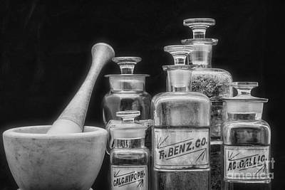 Mortar Photograph - Vintage Chemistry In Black And White by Paul Ward