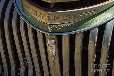 Mascot In Chrome Photograph - Vintage Chevrolet Logo And Emblem by Nick Gray
