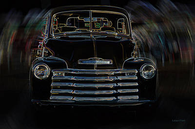 Classic Photograph - Vintage Chevy Truck Neon Art Stirred by Lesa Fine