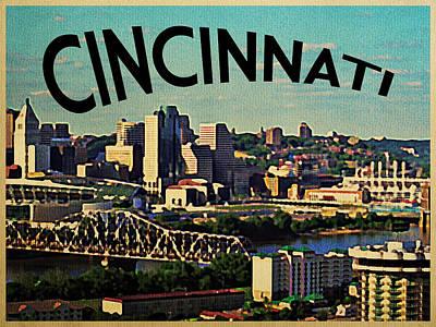 Vintage Cincinnati Skyline Print by Flo Karp
