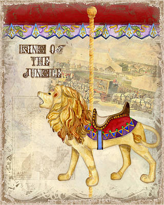 Lion Mixed Media - Vintage Circus Carousel - Roaring Lion by Audrey Jeanne Roberts