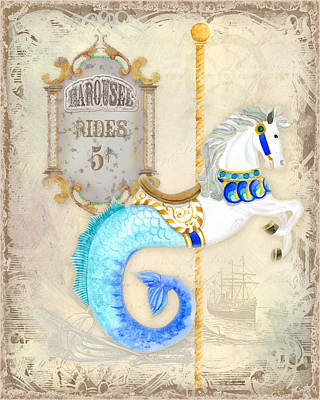 Vintage Circus Carousel - Seahorse Print by Audrey Jeanne Roberts