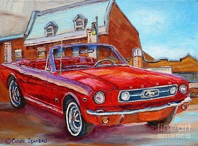 Restaurants Painting - Vintage Classic Cars Paintings Red Mustang At The Diner Montreal Canadian Art Carole Spandau         by Carole Spandau