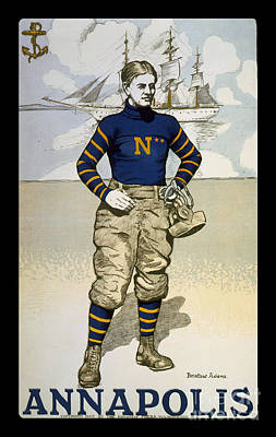 Vintage College Football Annapolis Print by Edward Fielding