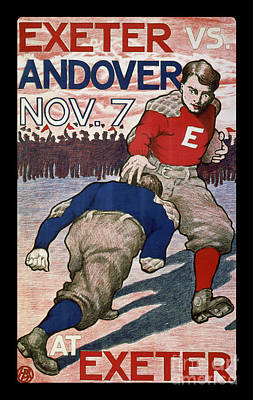Sports Drawing - Vintage College Football Exeter Andover by Edward Fielding