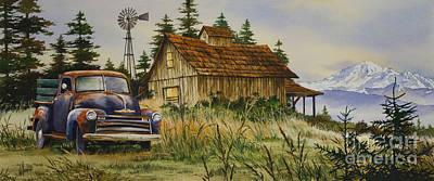 Old Trucks Painting - Vintage Country Landscape by James Williamson