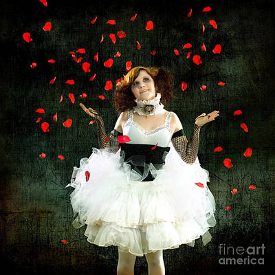 Daydreams Art Photograph - Vintage Dancer Series Raining Rose Petals  by Cindy Singleton