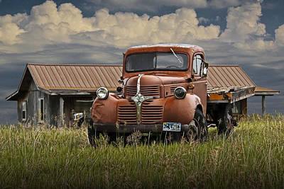 Old Trucks Photograph - Vintage Dodge Truck On The Prairie by Randall Nyhof