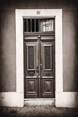 Framed Old Town Door Photograph - Vintage Door In Lisbon by Carol Japp