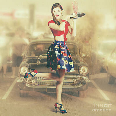 Attendant Photograph - Vintage Drive Thru Pin-up Girl by Jorgo Photography - Wall Art Gallery