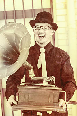 Vintage Entertainment Man Playing Golden Oldies Print by Jorgo Photography - Wall Art Gallery