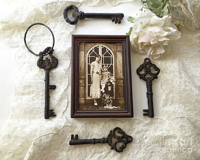 Heirlooms Photograph - Vintage Era Sepia 1920's Family Heirloom Mother Daughter Print-vintage Antique Black Keys Flatlay by Kathy Fornal