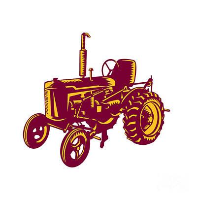 Vintage Farm Tractor Woodcut Print by Aloysius Patrimonio