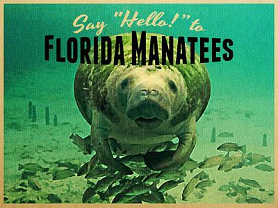 Vintage Florida Manatees Print by Flo Karp