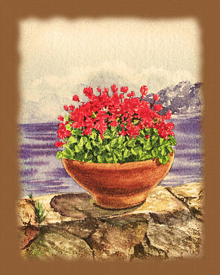Life In Italy Painting - Vintage Flowers In The Pot by Irina Sztukowski
