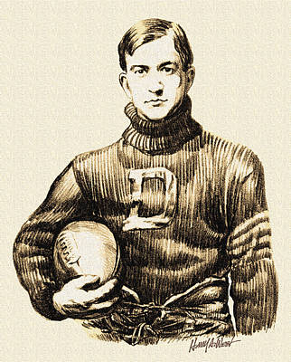 Football Drawing - Vintage Football by Harry West