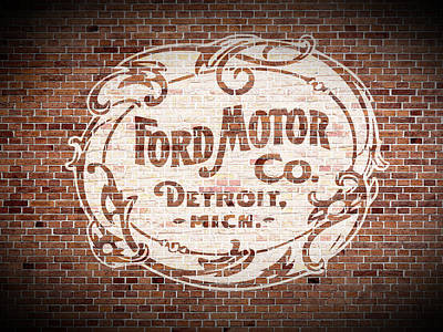 Brick Mixed Media - Vintage Ford Logo Painted On Old Brick Wall In Detroit Michigan by Design Turnpike