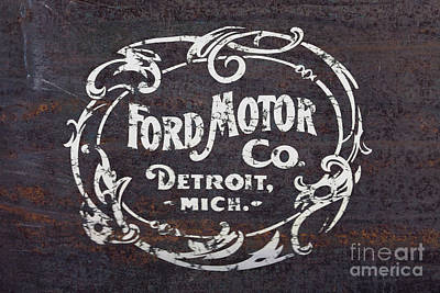Company Drawing - Vintage Ford Motor Co. Rusty Sign by Edward Fielding