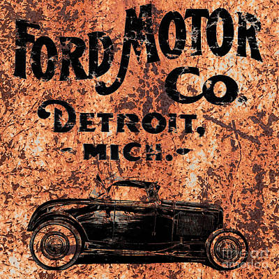 Hot Rod Drawing - Vintage Ford Motor Company by Edward Fielding