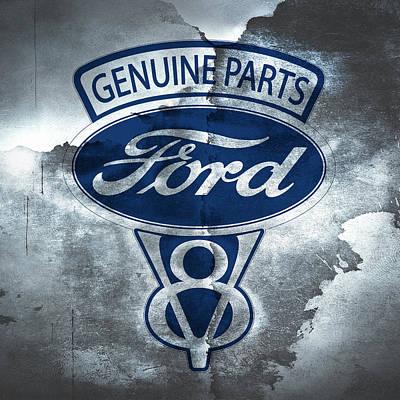 Vintage Signs Photograph - Vintage Ford V8  by Mark Rogan