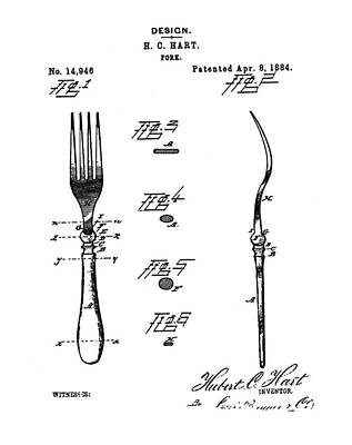 1884 Digital Art - Vintage Fork Patent 1884 by Bill Cannon