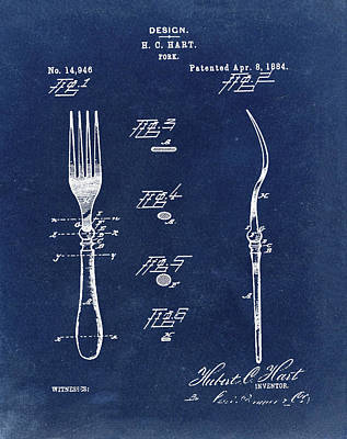 1884 Digital Art - Vintage Fork Patent 1884 In Blue by Bill Cannon