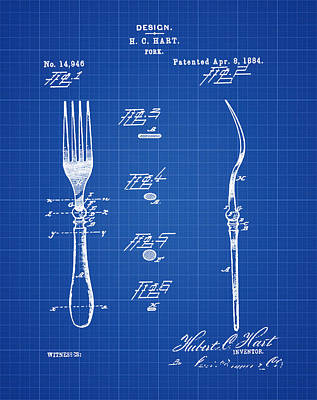 1884 Digital Art - Vintage Fork Patent 1884 In Blueprint by Bill Cannon