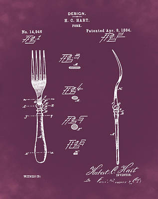 1884 Digital Art - Vintage Fork Patent 1884 In Red by Bill Cannon