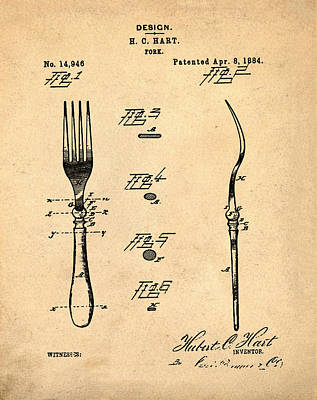 1884 Digital Art - Vintage Fork Patent 1884 In Sepia by Bill Cannon