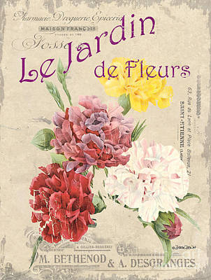 Vintage French Flower Shop 4 Print by Debbie DeWitt