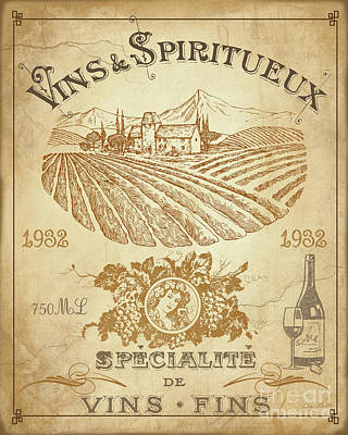 Vintage French Wine Label-jp3973 Print by Jean Plout