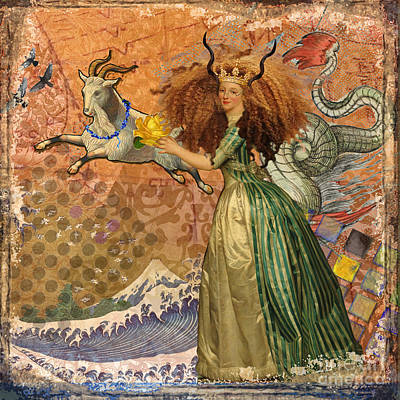 Antique Digital Art - Vintage Golden Woman Capricorn Gothic Whimsical Collage by Mary Hubley