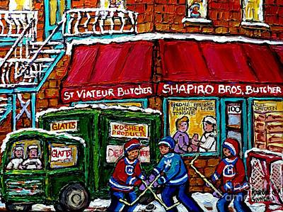 Hockey Art Painting - Vintage Grocery And Butcher Shops Jewish Montreal Memories Paintings Glatts' Kosher Delivery Truck by Carole Spandau