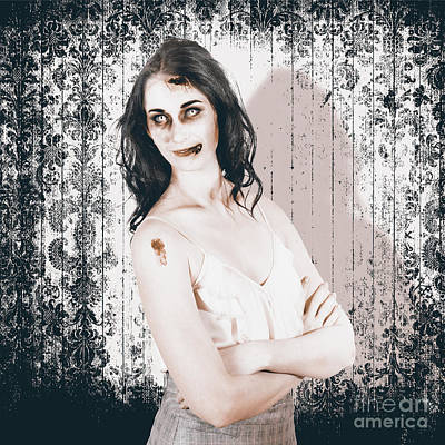 Vintage Halloween Spook On Grunge Background Print by Jorgo Photography - Wall Art Gallery
