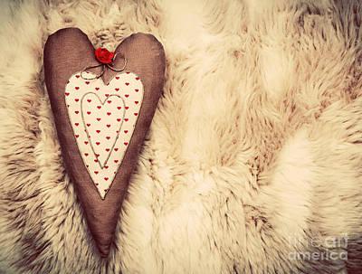 Anniversary Photograph - Vintage Handmade Plush Heart Pillow On The Soft Blanket by Michal Bednarek