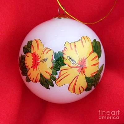 Vintage Hibiscus Christmas Bulb Print by Mary Deal