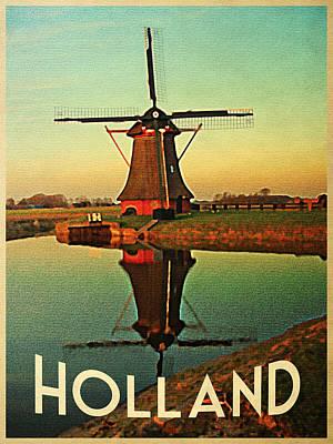 Mill Digital Art - Vintage Holland Windmill by Flo Karp