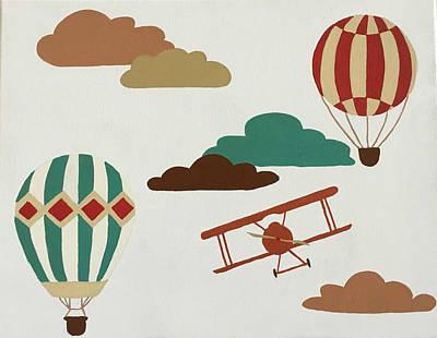 Vintage Hot Air Balloons Print by Melinda Baynes