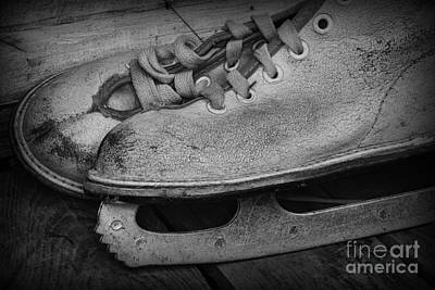 Winter Fun Photograph - Vintage Ice Skates In Black And White by Paul Ward