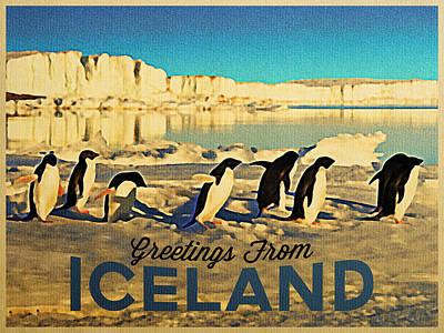 Antarctica Digital Art - Vintage Iceland Pengins by Flo Karp