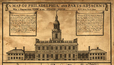 Philadelphia History Drawing - Vintage Illustration Of Independence Hall by ArtworkAssociates