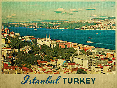 Turkey Digital Art - Vintage Istanbul Turkey by Flo Karp